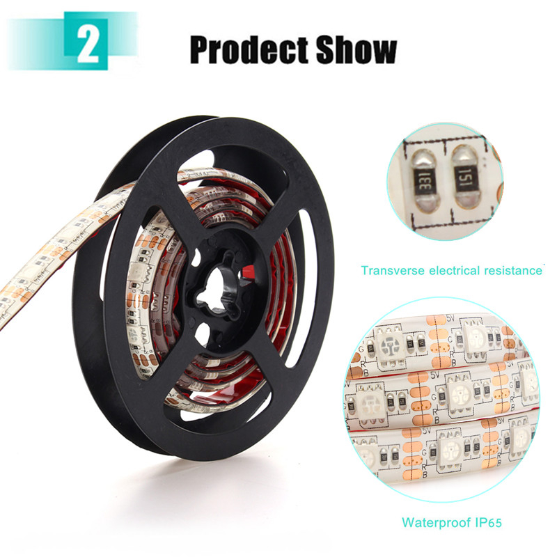 2M Waterproof USB SMD5050 120 LED RGB Strip Light Bar TV Background Lighting Lamp 5V
