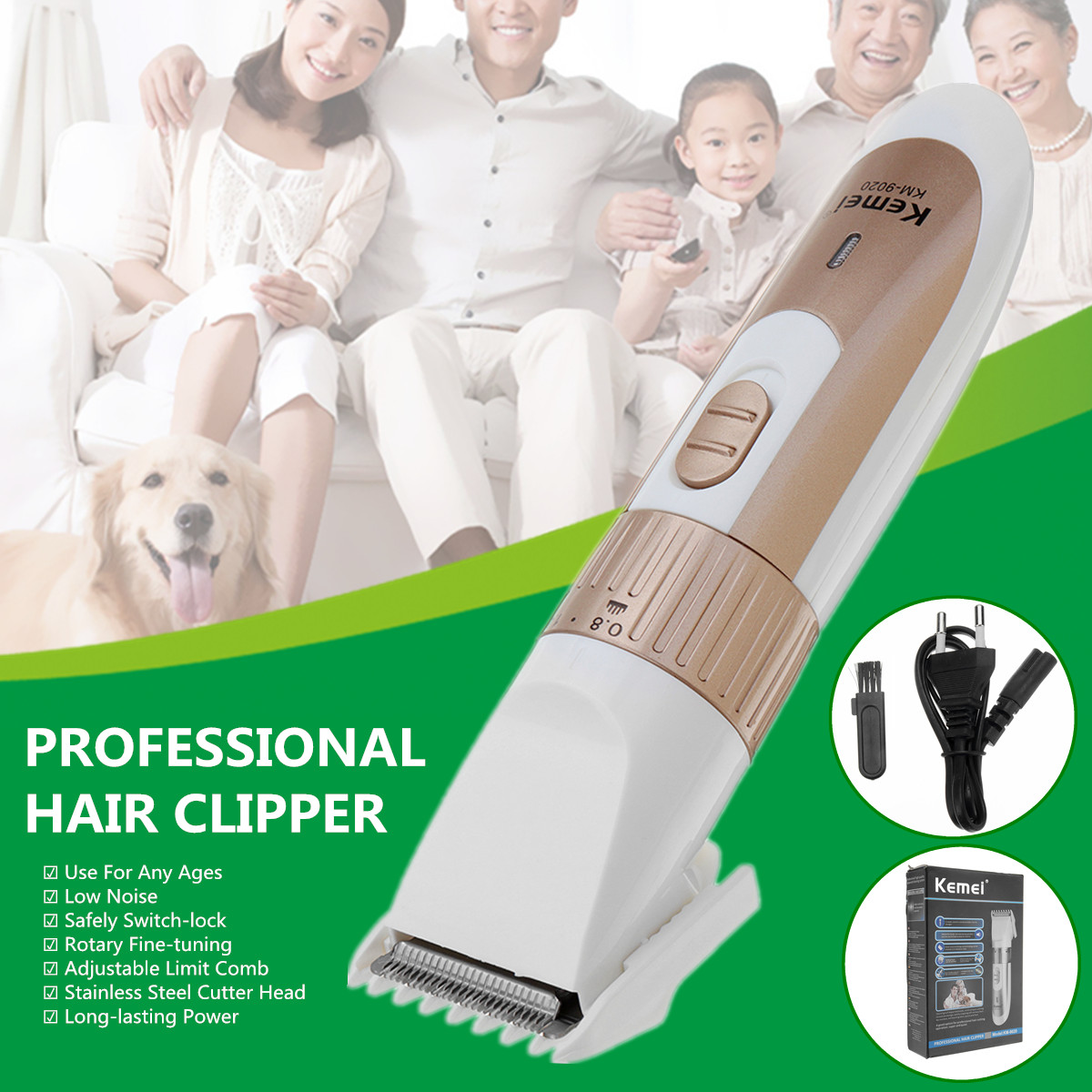 Professional Electric Hair Clipper Trimmer Rechargeable Shaver Haircut Machine