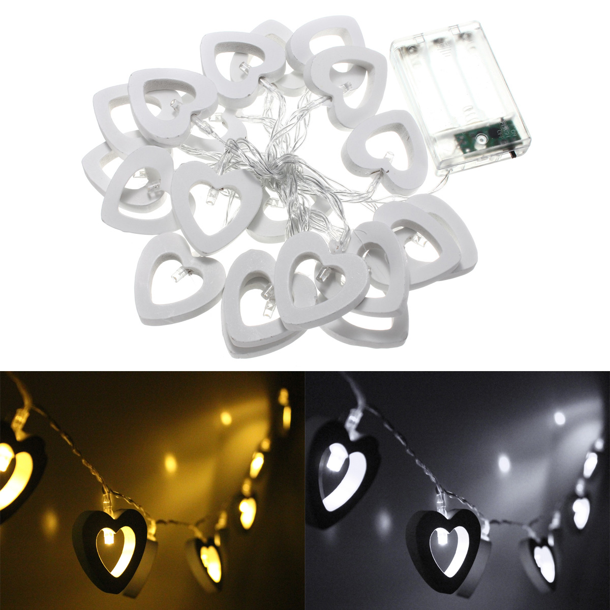 Battery Operated 20LED Heart Shape String Fairy Light for Party Decor
