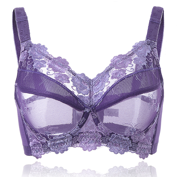 Plus Size B-H Sexy Lace Embroidery Ultra Thin Bra