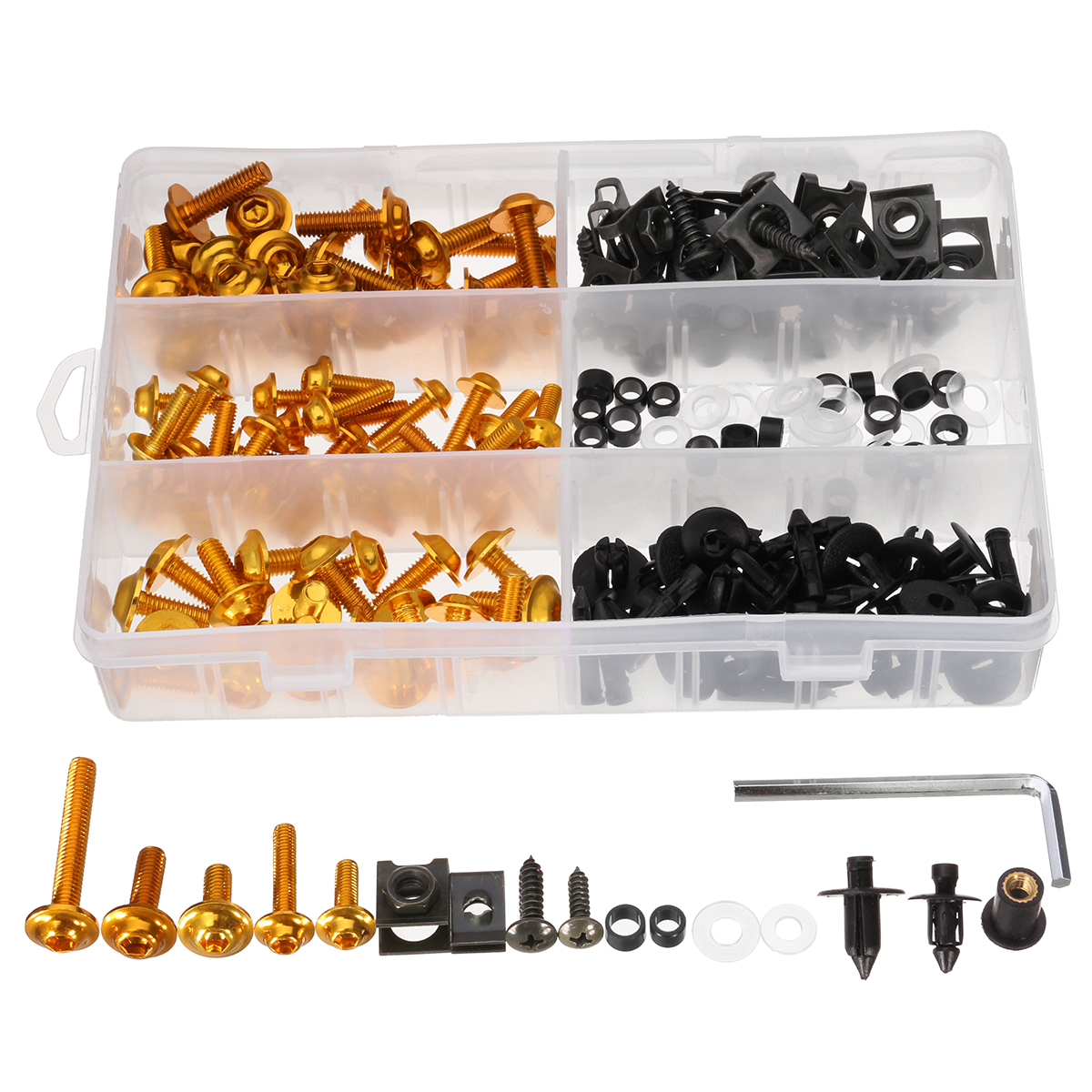 198pcs Fastener Clips Screws Aluminum Motorcycle Sportbike Fairing Bolts Kit