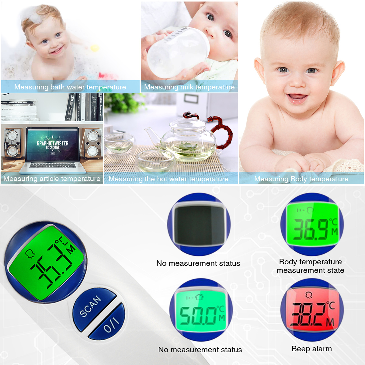 Loskii FR-800 Digital Infrared Thermometer Non-contact Forehead Body Surface Object Temperature Measurement Safe Baby Termometro Alarm Function