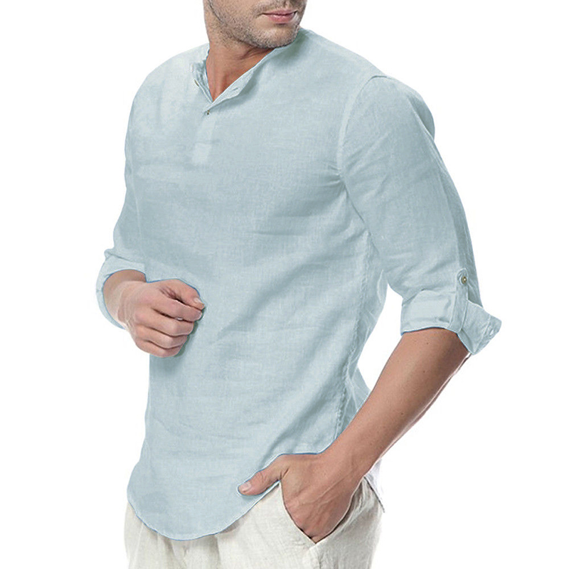 INCERUN Men Cotton Button Neck Casual Slim Fit Shirt Tee Top