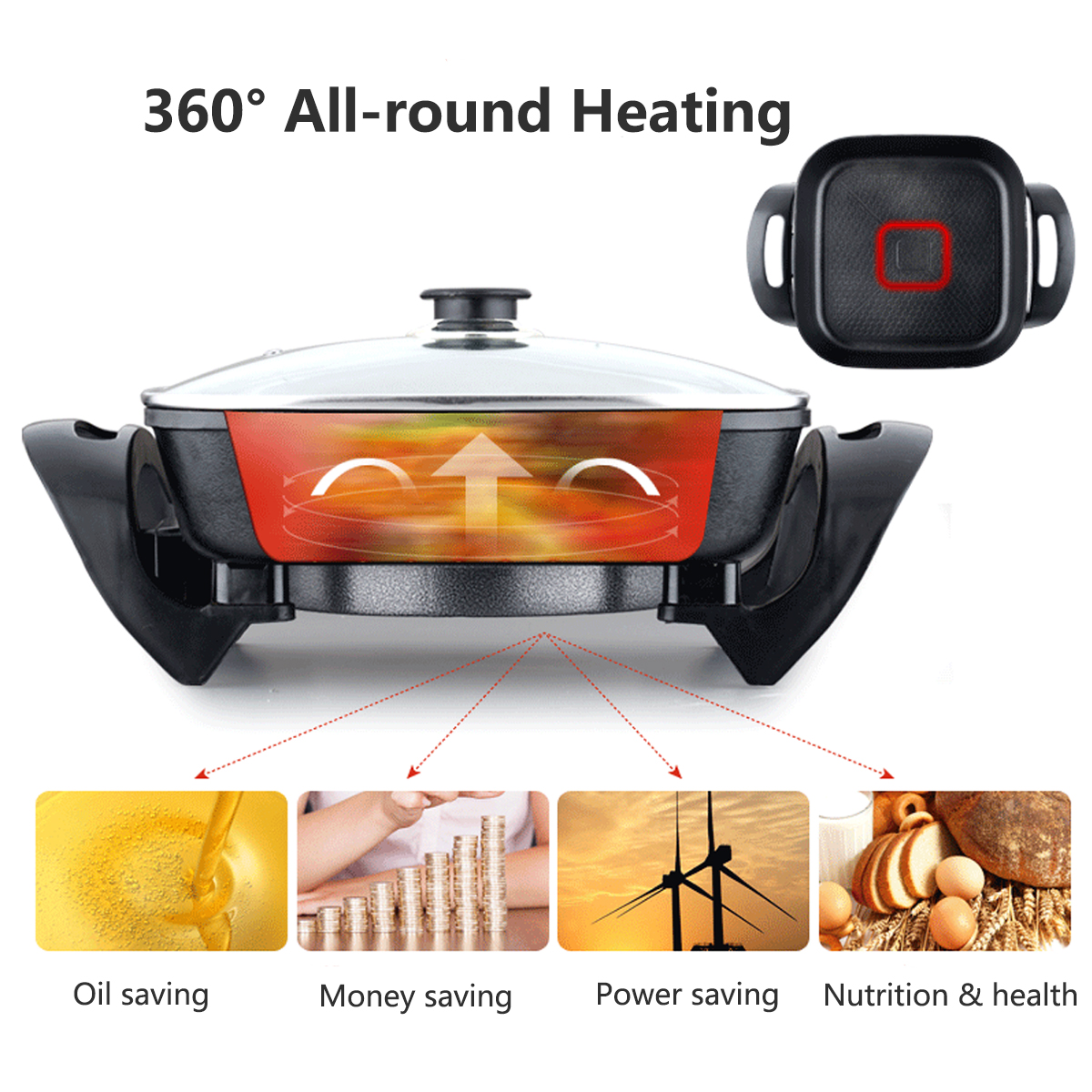 1800W 220V Multifunction Electric Non-Stick Grill Smokeless Fry Cooking Electric Hot Pot
