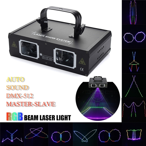2 Lens RGB Beam Laser Light DMX DJ Party Club Bar Show Stage Lighting AC110-240V