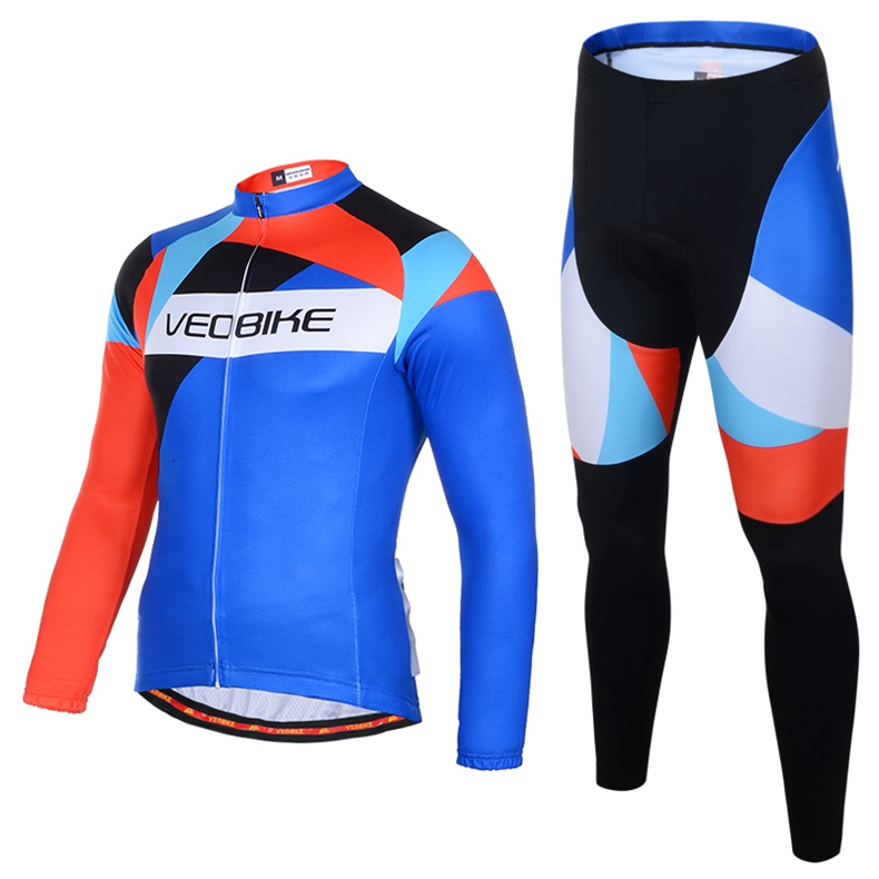 Unisex Bicycle Long Sleeve Jersey Set Sportswear Suit Cycling Bike Clothes Suit