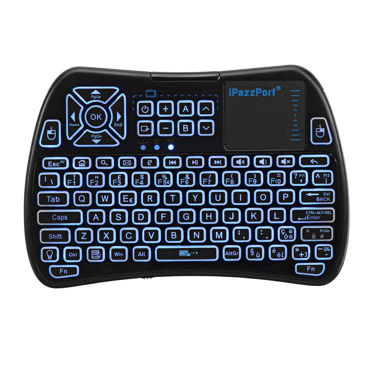 iPazzPort KP-810-61-RGB Italian Three Color Backlit Mini Keyboard Touchpad Airmouse