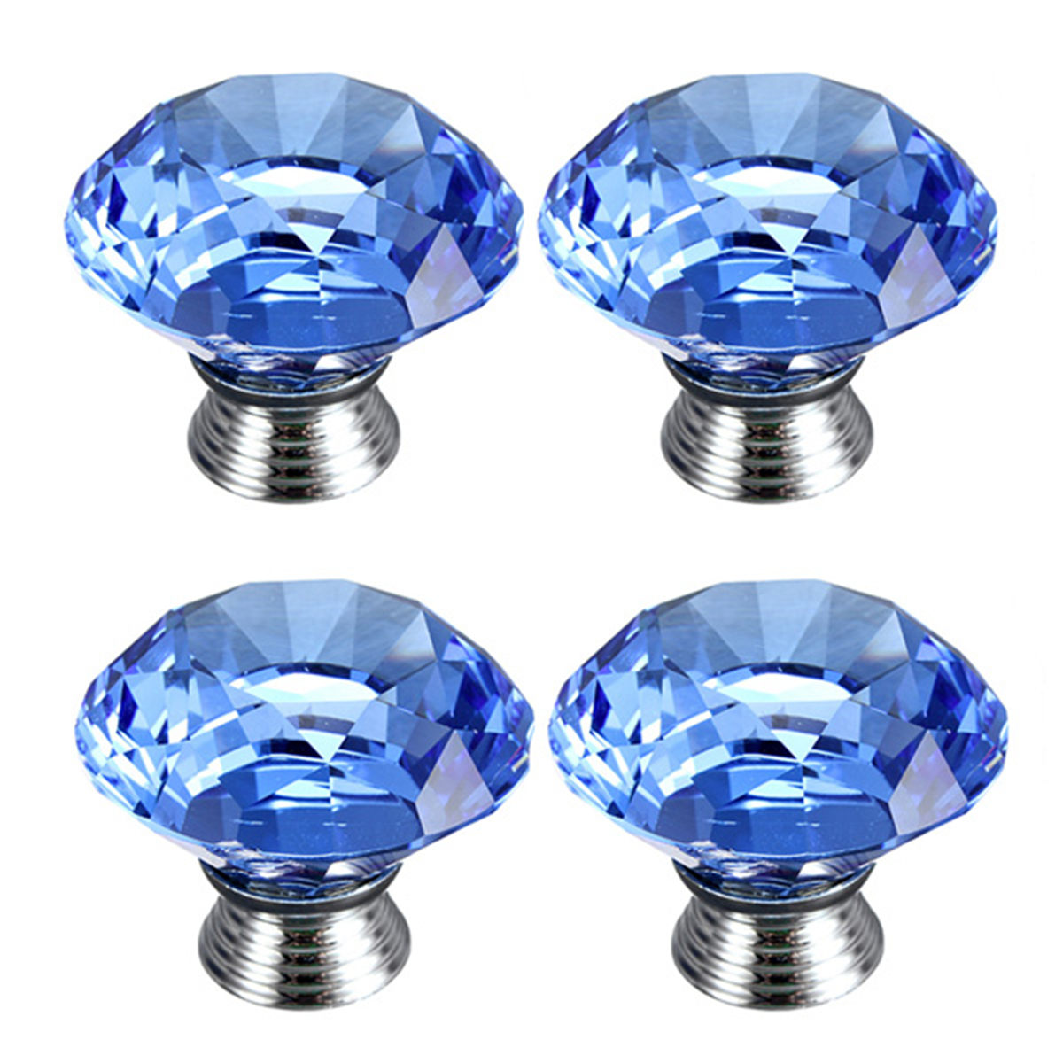 40mm Crystal Glass Door Knobs Kitchen Furniture Drawer Cabinet Cupboard Pull Handle
