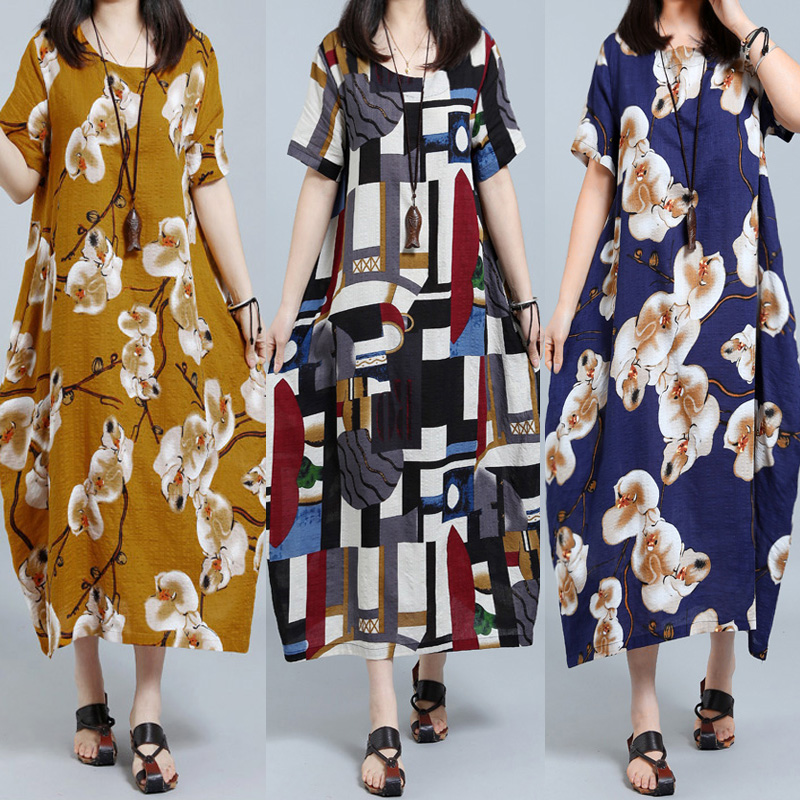 Floral Printed Loose Short Sleeve Women Maxi Dress