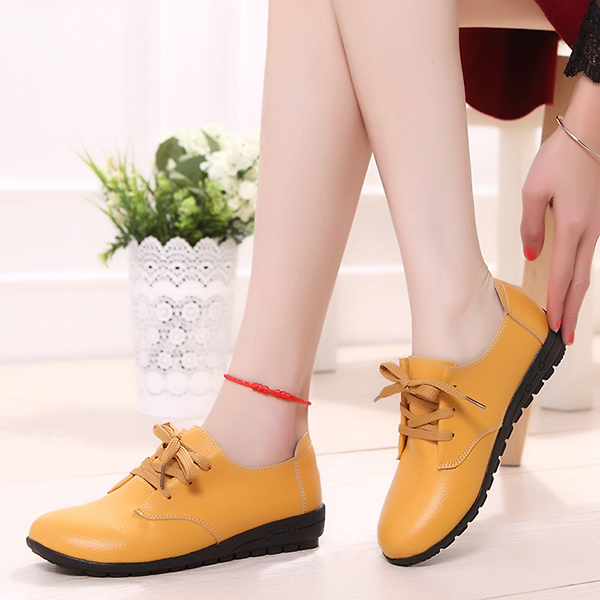 Leather Flat Shoes For Women