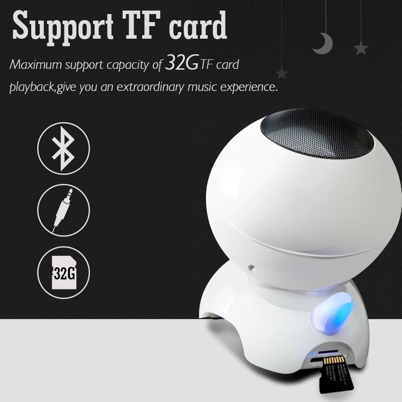 Robot Noise-canceling Stereo Wireless bluetooth Speaker with Mic for iPhone X Samsung S8 Smart Phone