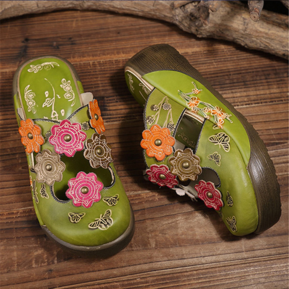 SOCOFY Folkways Leather Hollow Out Slippers
