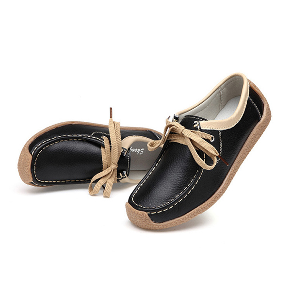 Breathable Walking Leather Flat Shoe