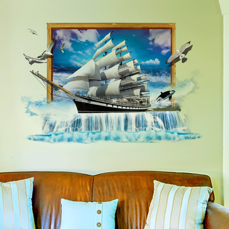 Miico Creative 3D Sea Sailboat Waterfall Frame PVC Removable Home Room Decorative Wall Door Decor Sticker