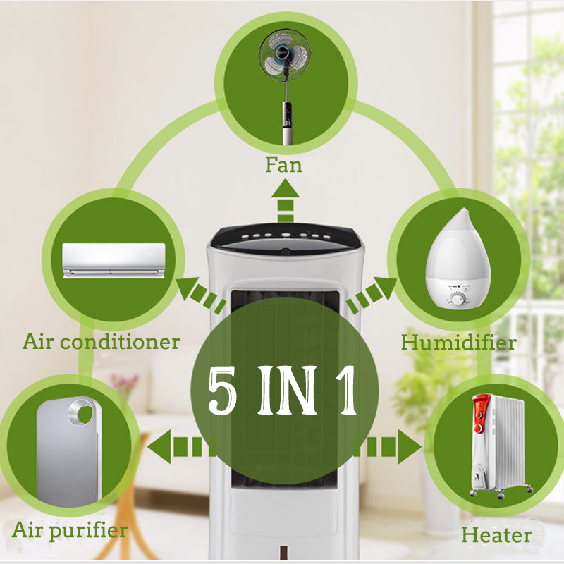220V 60W/2000W 5L Air Conditioner Conditioning Fan Humidifier Cooler Cooling Heating System Remote