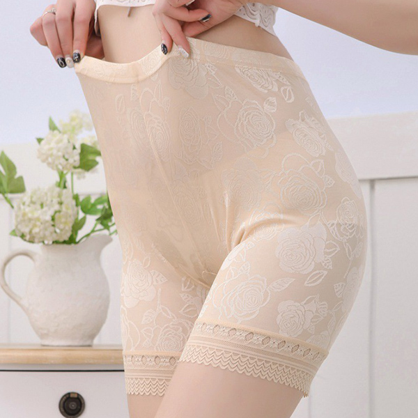 Women Cozy Seamfree Lace-trim Jacquard Elastic Breathable Boyshorts Panties