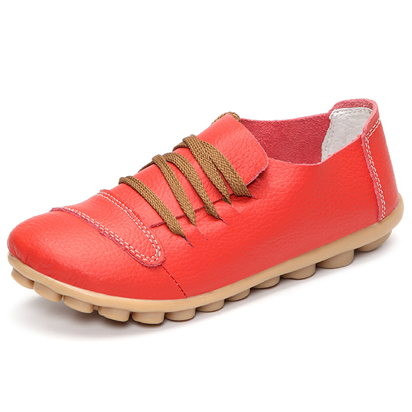 Large Size Lace Up Soft Leather Round Toe Flat Shoes Comfy Loafers