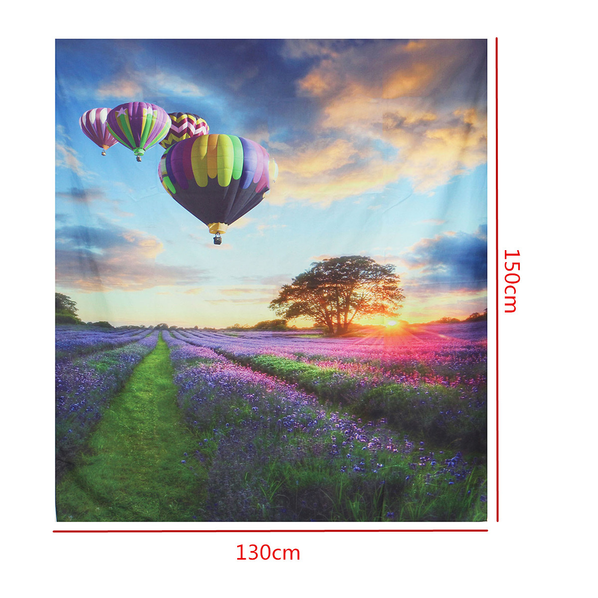 IPRee™ 150x130CM Outdoor Travel Beach Towel Mat Hot Air Balloon Lavender Bohemian Cotton Tapestry