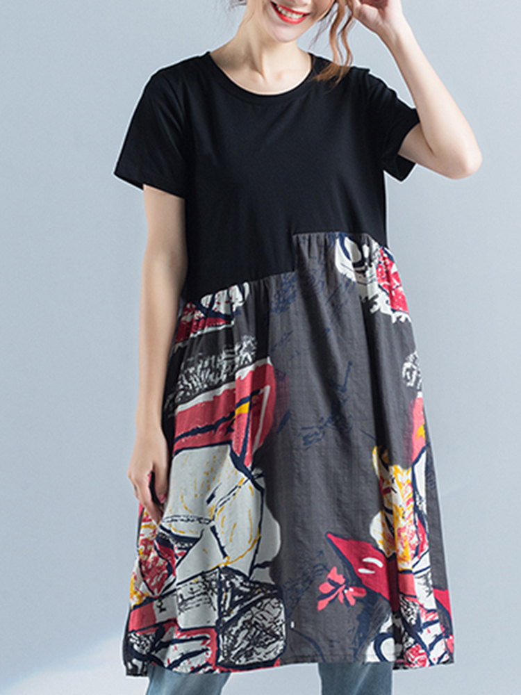 Print Patchwork Dress Short Sleeve O Neck Pockets Dress