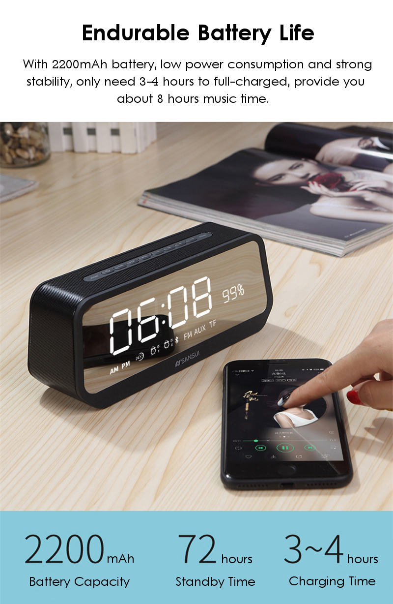 Sansui T26 LED Display Mirror Alarm Clock TF Card AUX FM Radio Bass bluetooth Speaker