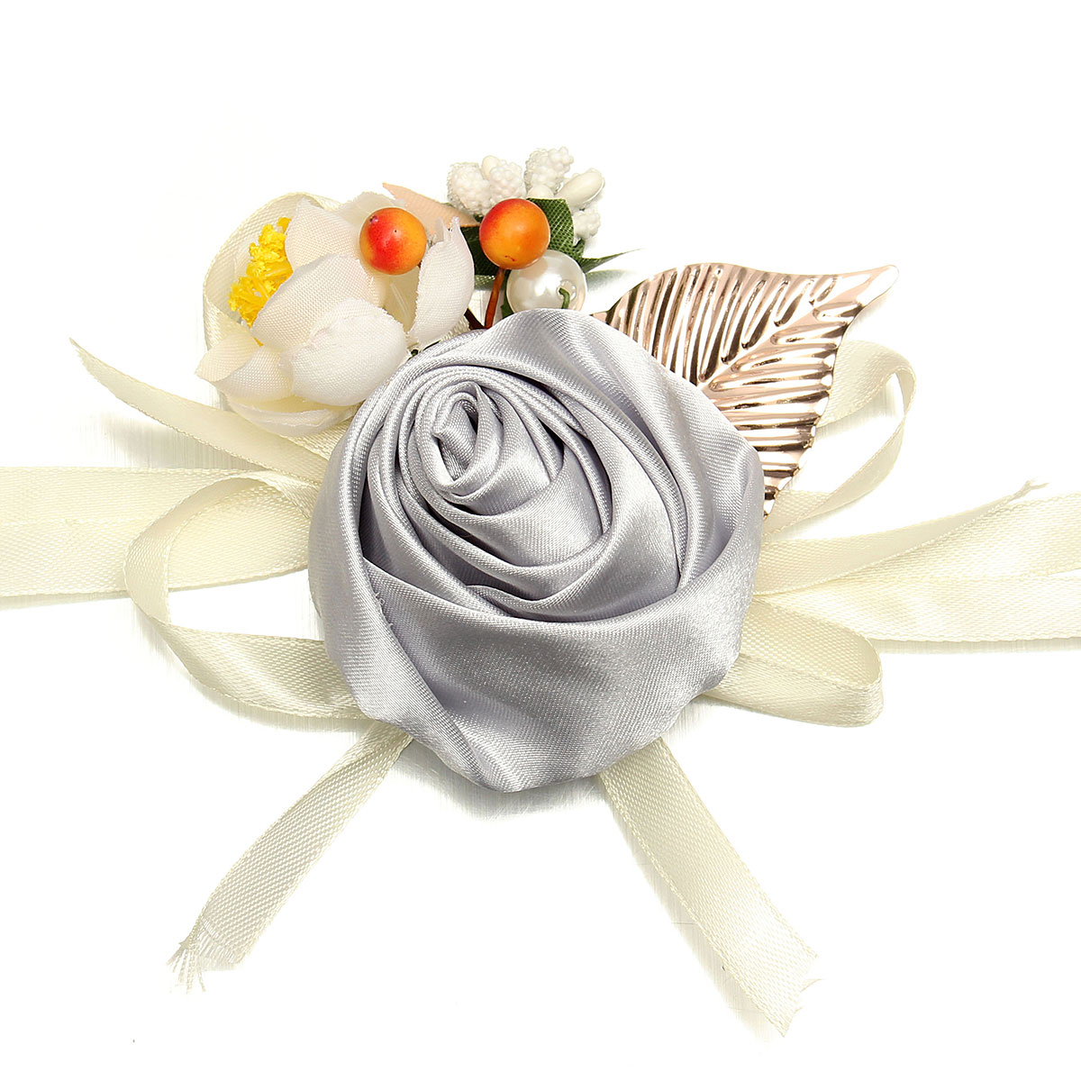 Bridal Wrist Flower Bridesmaid Corsage Rose Ribbon Bracelet Wedding Decor