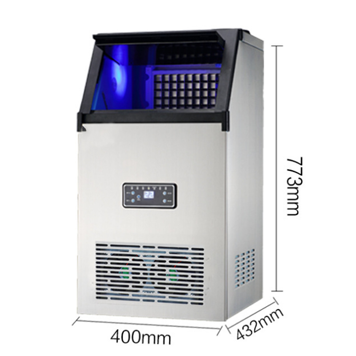 110V 70Kg/24hr Auto Ice Cube Maker Machine Commercial Restaurant Bar Stainless Steel Icemaker