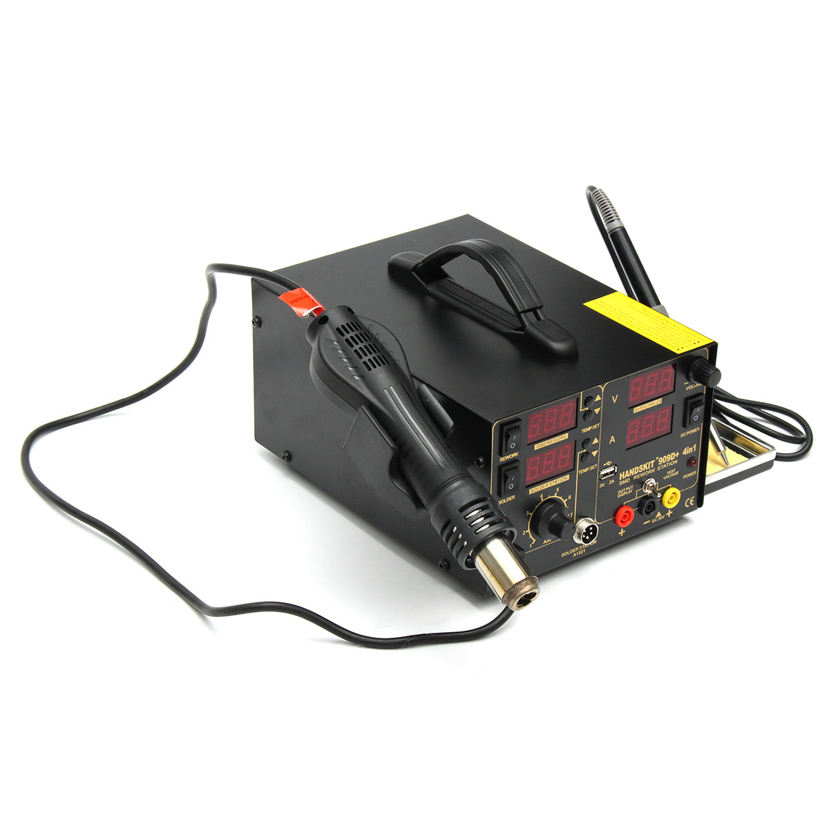 110V 800W 4 In 1 909D+ Rework Soldering Station Power Supply Hot Heat Air Gun Soldering Iron Kit