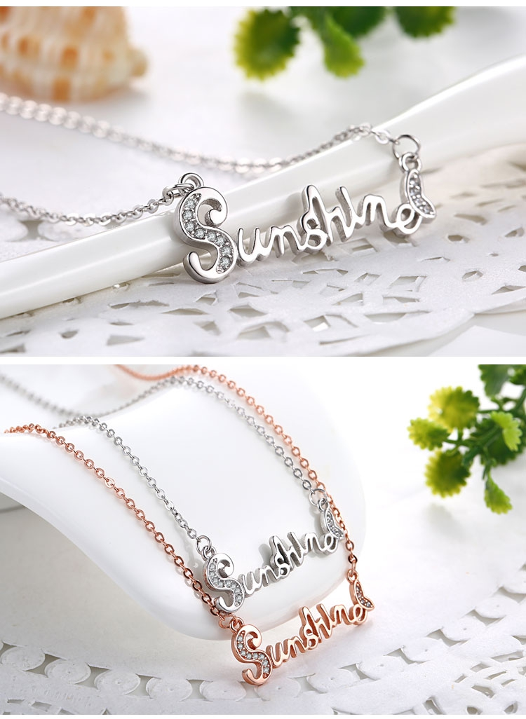 925 Sterling Silver Sunshine Letter Word Women Necklace Chain Jewelry