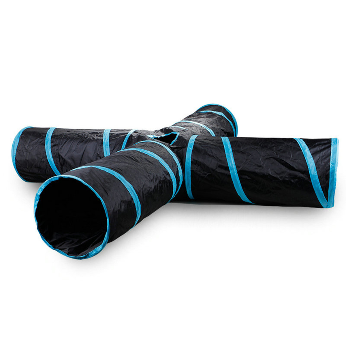 Pet Cat Dog Kitten Puppy Tunnel Play Toy 4 WAY Foldable Exercise Tunnel Funny Pet Toys Hunting Dog