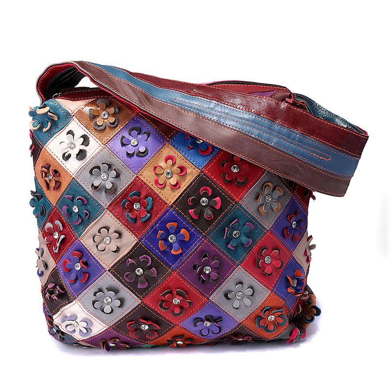 Women Vintage Genuine Leather Floral Leisure Handbag