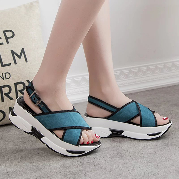 Summer Women Wedge Sandals Casual Outdoor Lace Up Shoes