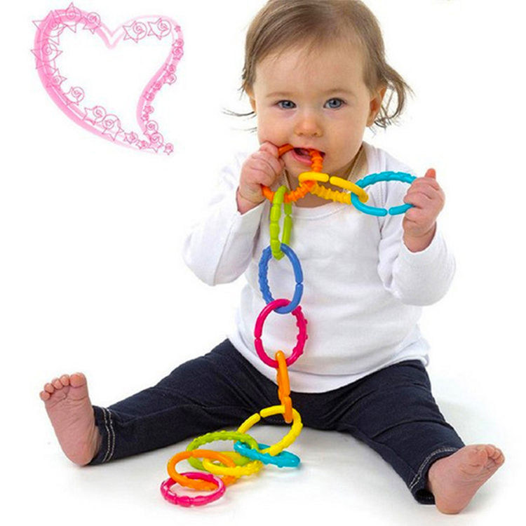 24Pcs Baby Colorful Rainbow Rings Kids Bed Stroller Hanging Toy Decoration Gift