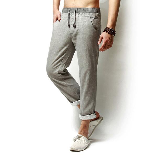 Men Long Trousers Flax Leisure Pants
