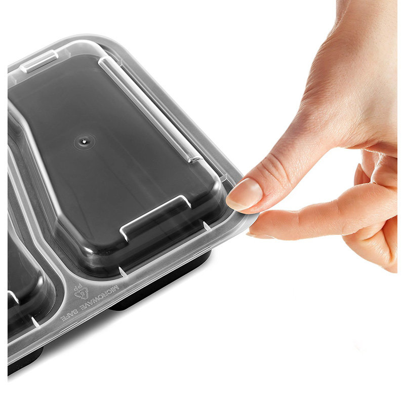 Honana CF-AT054 1pcs 2-Compartment Disposable Lunch Box Rectangle Shape Microwave Safe Food Container Lunch Tray