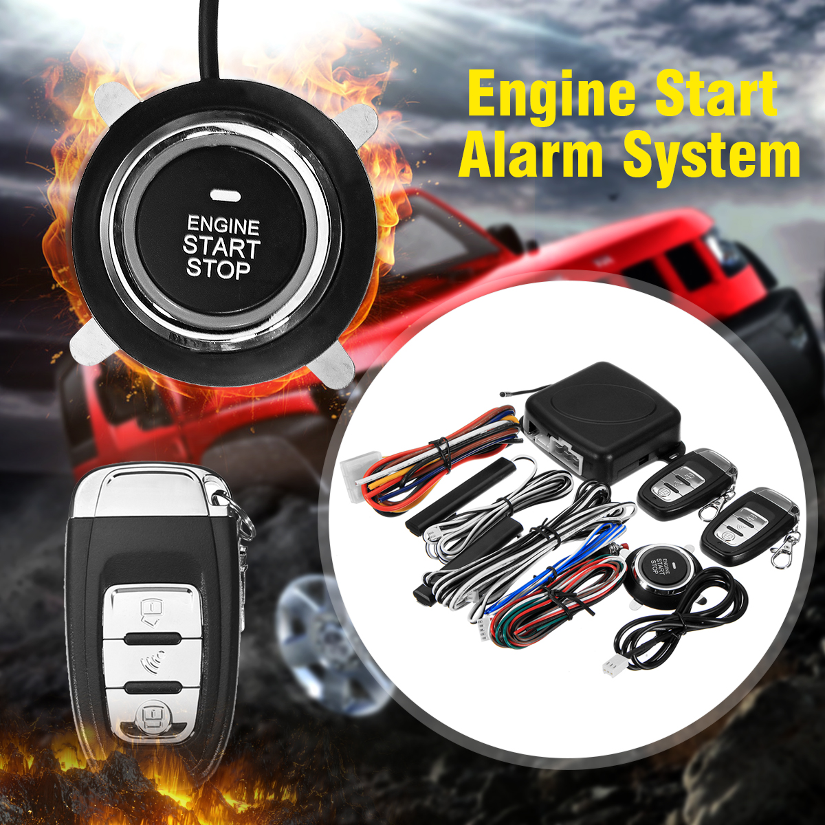 Smart Car Q6C Alarm System Push Button & Remote Start Engine Auto Lock & Unlock