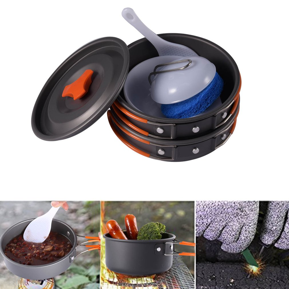 IPRee 1-2 People Outdoor Camping Hiking Cookware Set Ba
