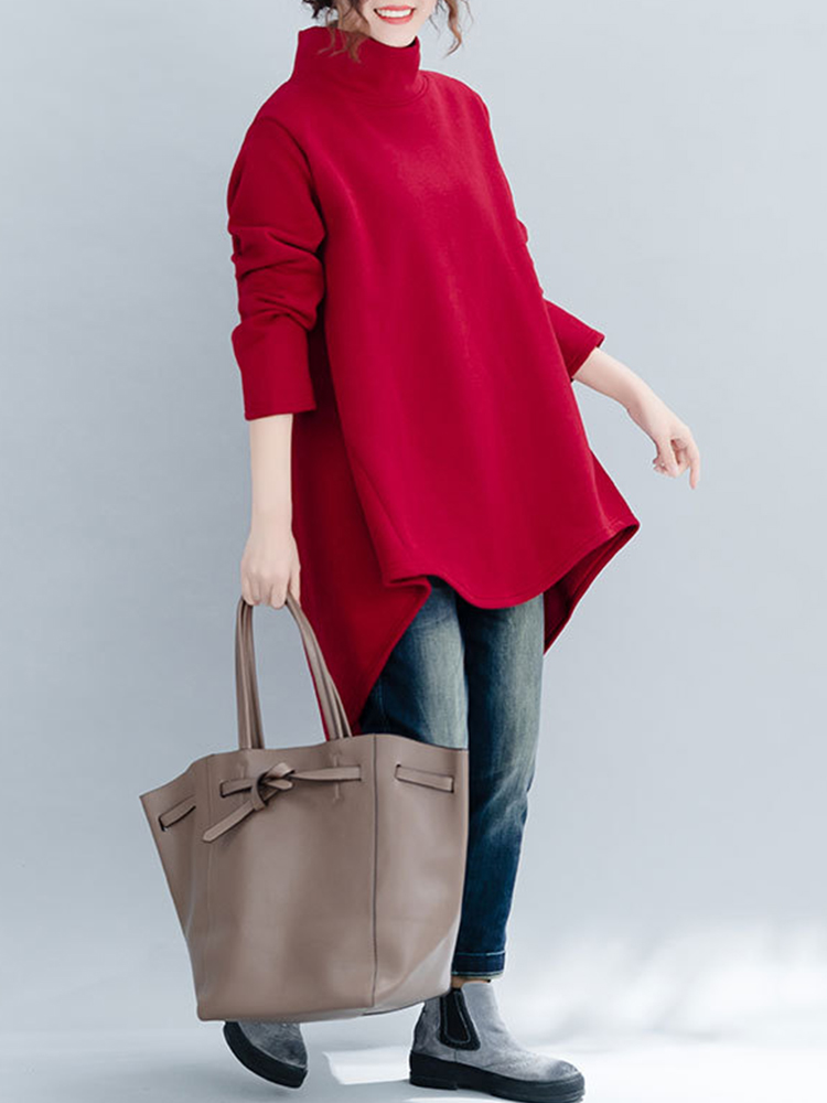 High Collar Long Sleeve Solid Color Asymmetrical Sweatshirt