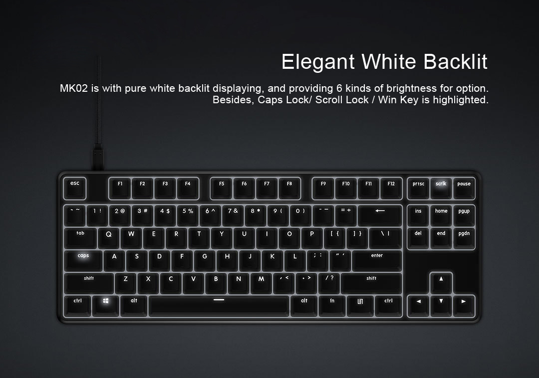 XiaoMi Yuemi Pro MK02 Aluminum Alloy 87 Keys NKRO Cherry MX Switch Detachable USB Wired Mechanical Keyboard