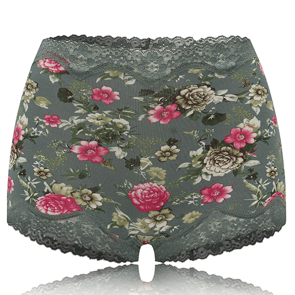 Tussah Silk Lace Trim Hip Lifting Printed Panties