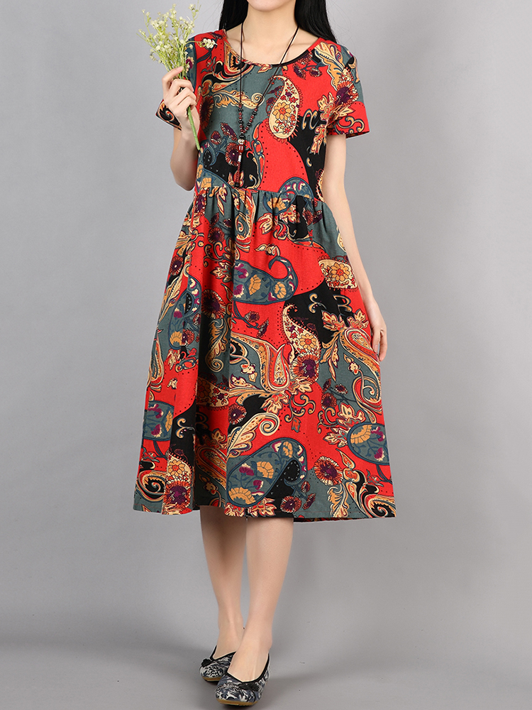 Vintage Women High Waist Floral Printed Swing Dresses