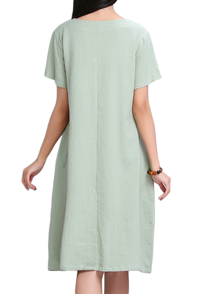 Chinese Style Button Solid Color Women A-Line Linen Dress