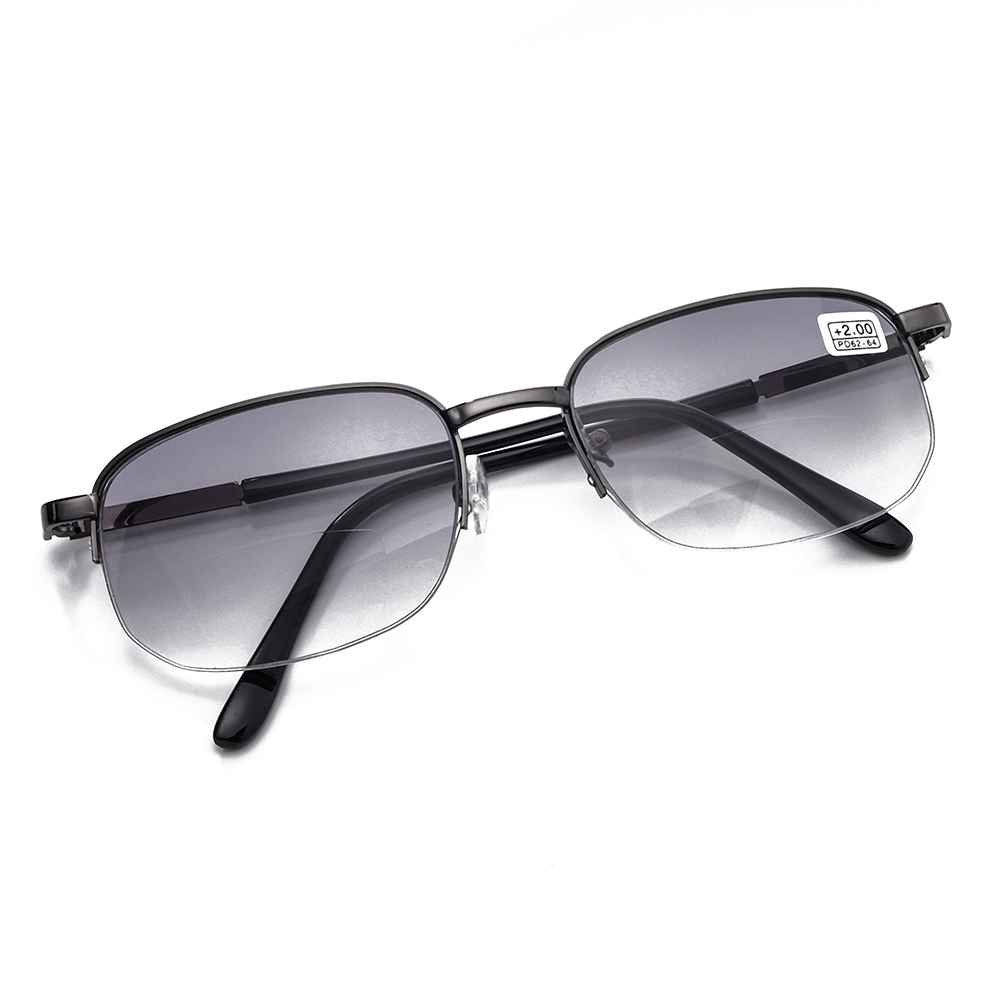 Metal Frame Bifocal Reading Glasses with Case