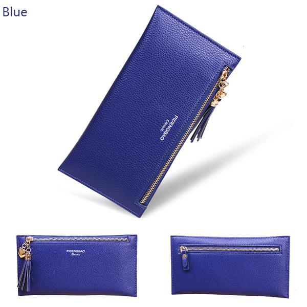 Women PU Leather Horizontal Light Weight Tassel Card Holder Coin Pursue Wallet