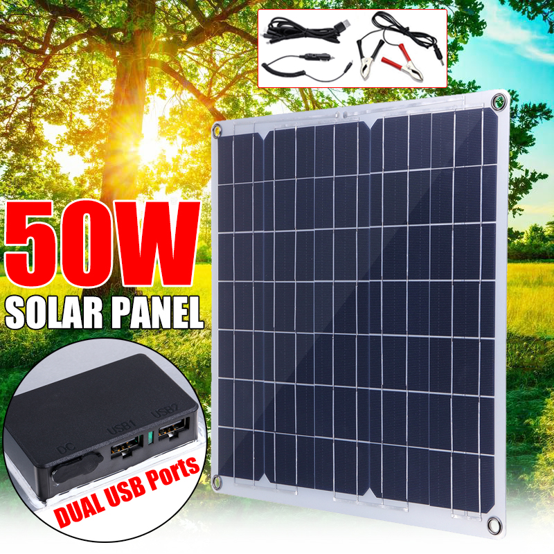 50W 12/5V Portable Solar Panel Dual USB For Car RV Battery Charge