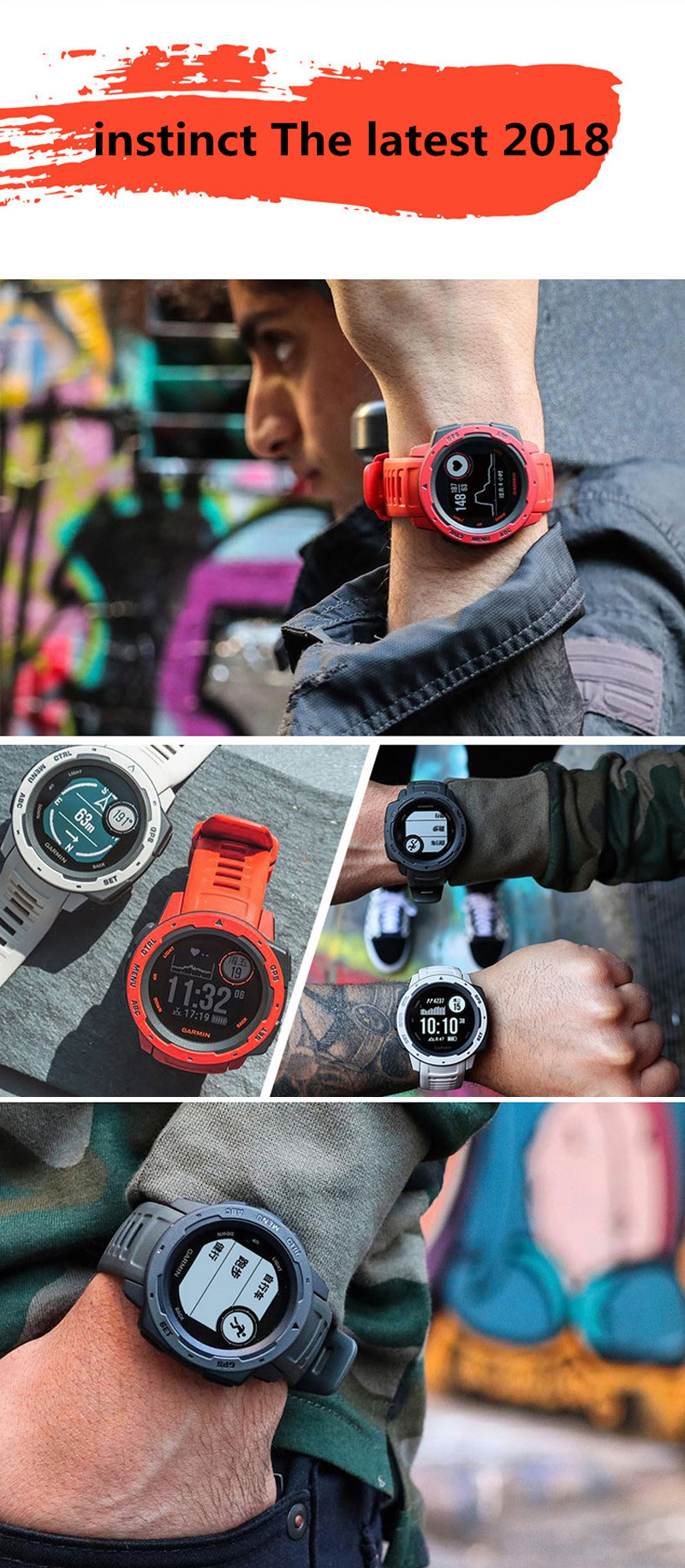 Garmin Instinct Rugged GPS 10 ATM Waterproof Smart Watch Heart Rate Monitor 3axis Compass Fitness Exercise Sports Bracelet