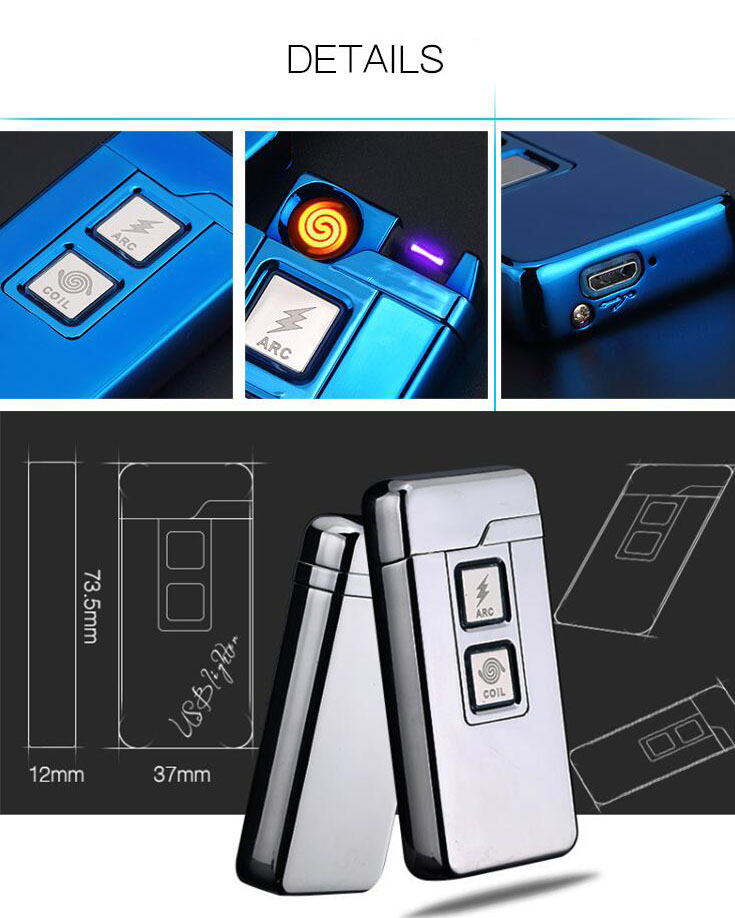 KCASA KC-908 Arc Dual-Purpose Electric Lighter Windproof USB Lighters with Double Touch Induction Ignition
