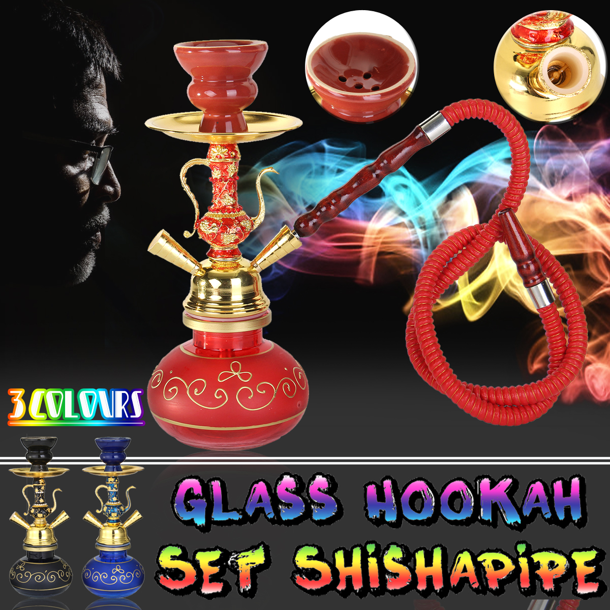 Glass Water Vase Glass Hookahs Shisha Bottles Nargila Bar Bowl Narguile Pipe