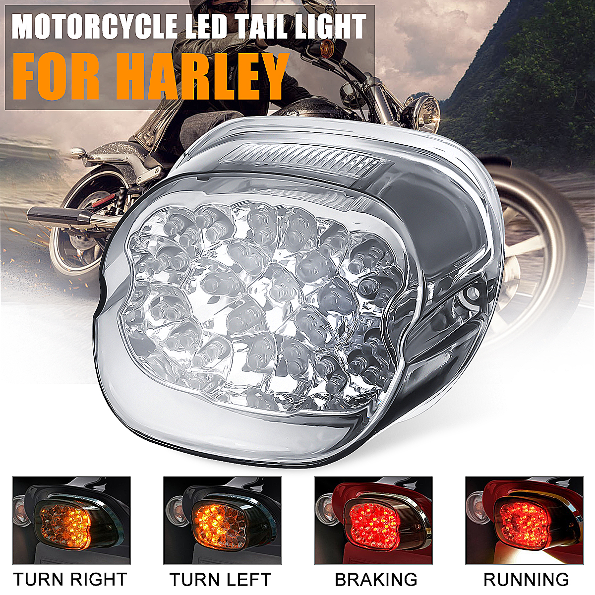 New Smoke Lens Led Tail Brake Turn Signal Light Motorcycle For Harley Dyna Fat Boy Sportster