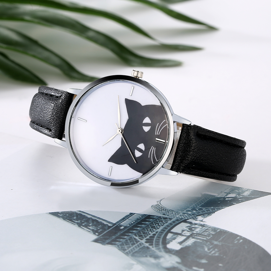 Cartoon Cat Leather Strap Women Watch