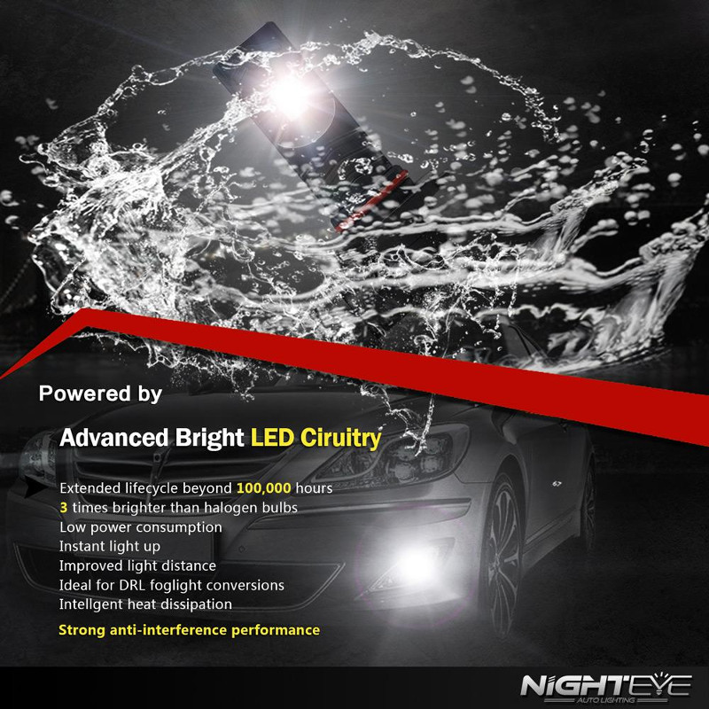 NIGHTEYE A338 Car LED Headlights Fog Lamp H4 H7 H11 9005 9006 80W 800LM 6500K